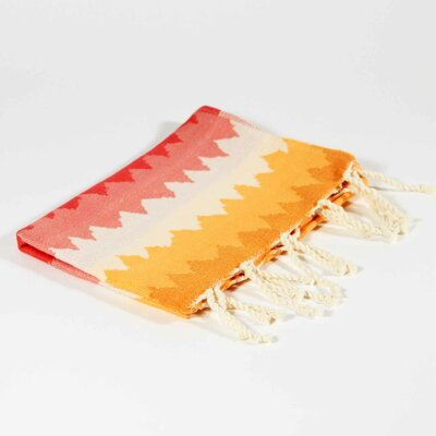 Hudgens Ethnic Stripe Hand Towel Color: Strawberry/Orange