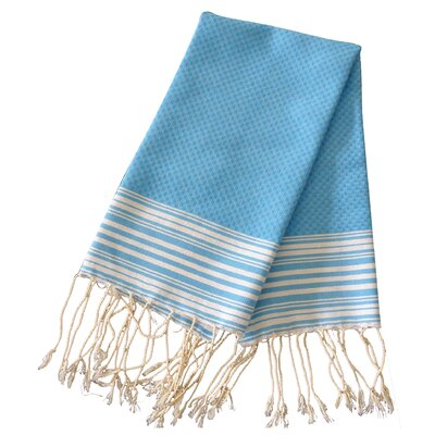 Hudgens Honey Comb Hand Towel (Set of 2) Color: Turquoise / White