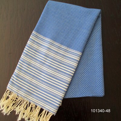 Hudgens Honey Comb Bath Towel Color: Blue Jeans / White
