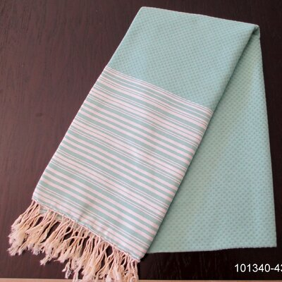 Hudgens Honey Comb Bath Towel Color: Aqua / White