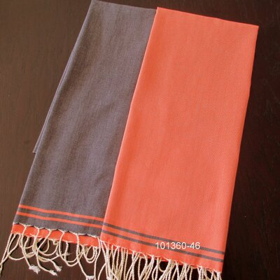 Hudgens Split Bath Towel Color: Navy / Orange