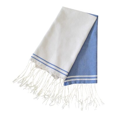 Hudgens Split Bath Towel (Set of 2) Color: Blue Jeans / White