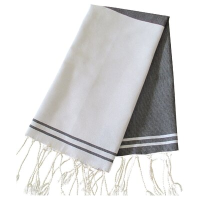 Hudgens Split Bath Towel (Set of 2) Color: White / Black