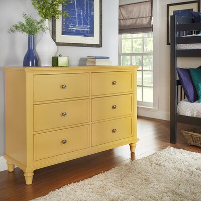 Isabella 6 Drawer Dresser Color: Yellow