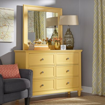 Isabella 6 Drawer Dresser with Mirror Color: Yellow