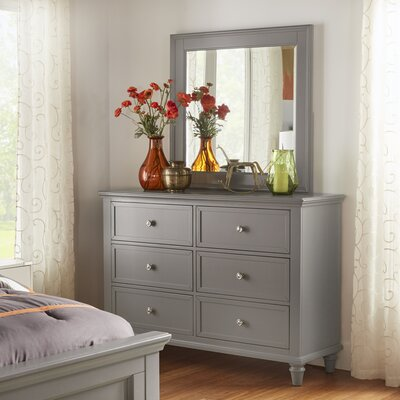 Isabella 6 Drawer Dresser with Mirror Color: Frost Gray