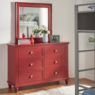 Isabella 6 Drawer Dresser with Mirror Color: Samba Red