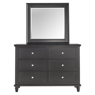 Isabella 6 Drawer Dresser with Mirror Color: Vulcan Black