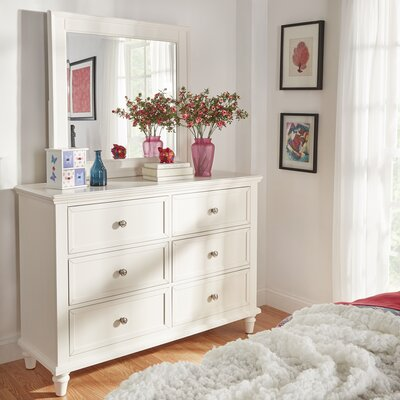 Isabella 6 Drawer Dresser with Mirror Color: White