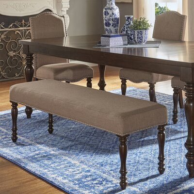 Hilliard Wood Dining Bench Upholstery Type- Color: Linen- Beige