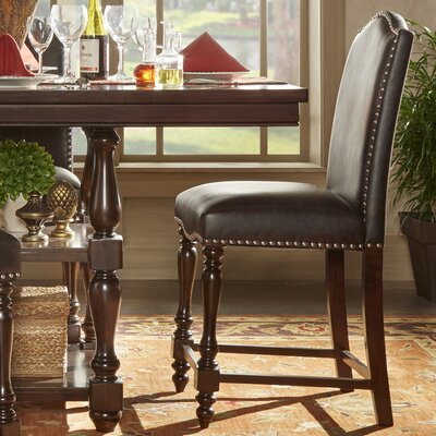 Hilliard Counter Height Parsons Chair Upholstery Type - Color: Faux Leather - Brown