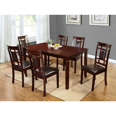 Patrick 7 Piece Dining Set Upholstery Type/Color: PU Leather/Black