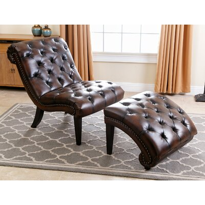 Delbert Leather Chaise Lounge and Ottoman