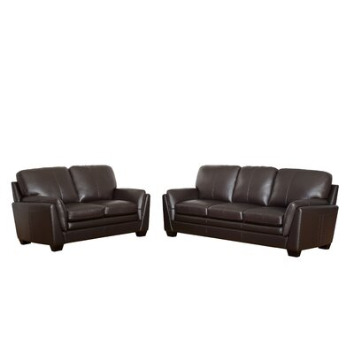Whitstran 3 Piece Top Grain Leather Living Room Set