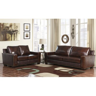 Darby Home Co DRBC4774 32356580 William Leather Sofa and Loveseat Set