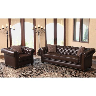 Mitchem 2 Piece Leather Living Room Set