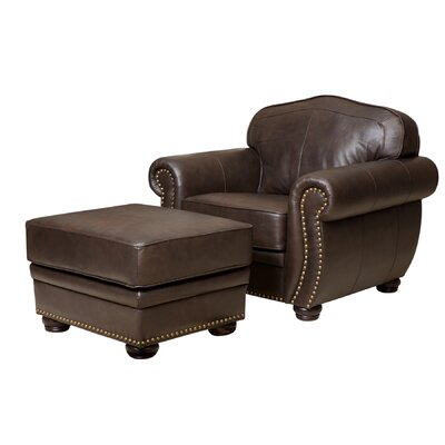 Morgenstern Leather Armchair and Ottoman
