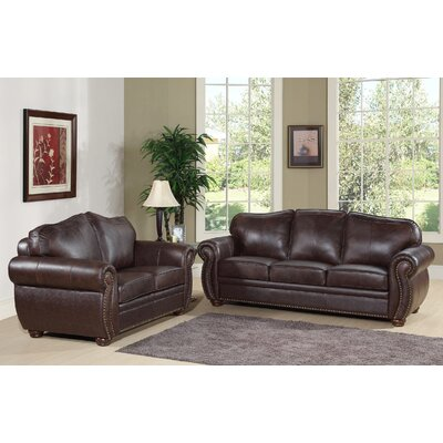 Morgenstern 2 Piece Leather Living Room Set
