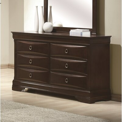 Gidney 6 Drawer Double Dresser with Mirror