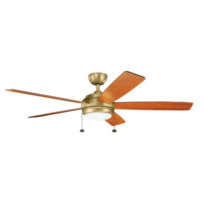 Danesfield 60 LED 5-Blade Ceiling Fan Finish: Natural Brass with Medium Cherry Blades