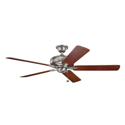Silas 60 5-Blade Ceiling Fan Finish: Burnished Antique Pewter with Dark Cherry Blades