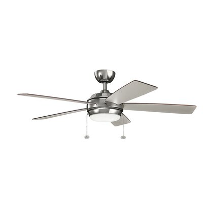 52 Danesfield 5 Blade LED Ceiling Fan Finish: Polished Nickel with Silver Blades