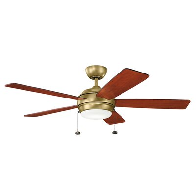 52 Danesfield 5 Blade LED Ceiling Fan Finish: Natural Brass with Medium Cherry Blades