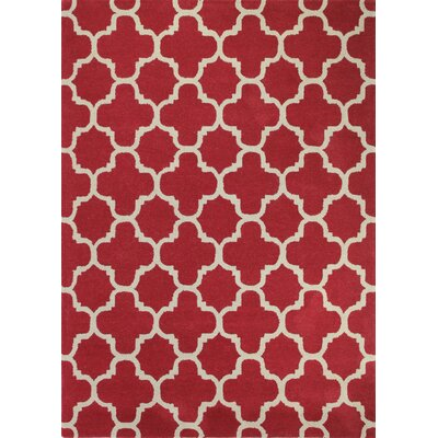 Lugent Hand-Tufted Red Area Rug Rug Size: 7'6 x 9'6