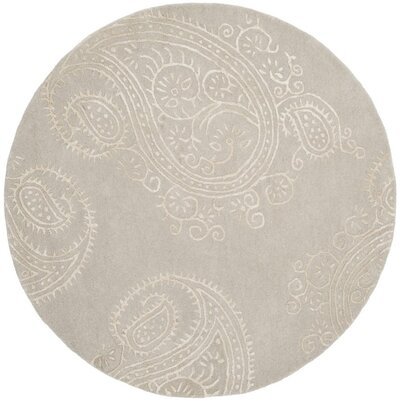 Shillington Hand-Tufted Silver/Beige Area Rug Rug Size: Round 5