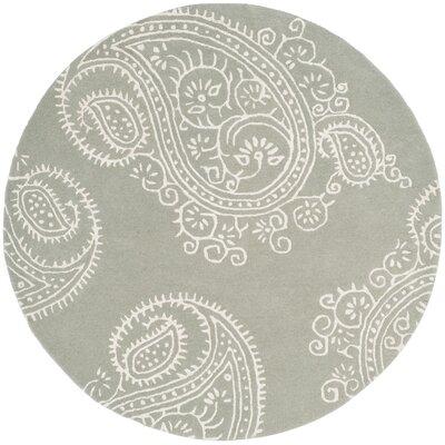 Shillington Hand-Tufted Gray/Ivory Area Rug Rug Size: Round 5
