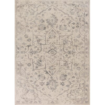 Bem Ivory/Gray Area Rug Rug Size: Rectangle 53 x 77
