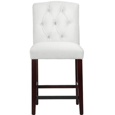 Cyrus Tufted Bar Stool Upholstery Color: White