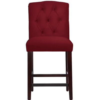 Cyrus Tufted Bar Stool Upholstery Color: Berry