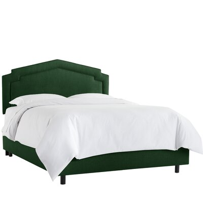 Cynthia Smooth Linen Upholstered Panel Bed Size: Twin, Headboard Color: Conifer Green