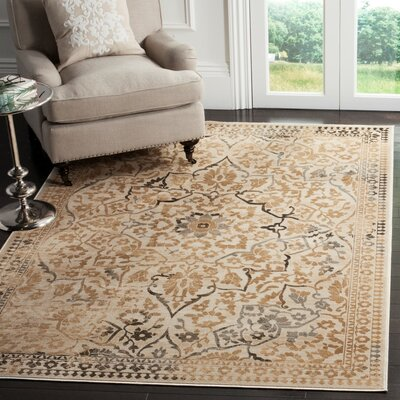 Ercole Beige Wool Area Rug Rug Size: Rectangle 53 x 76