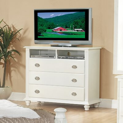 Daley 3 Drawer Media Chest Color: White