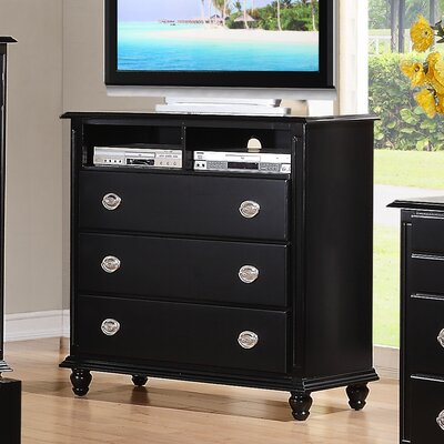 Daley 3 Drawer Media Chest Color: Black