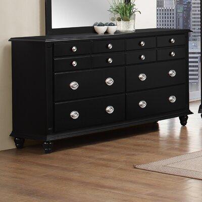 Daley 6 Drawer Double Dresser Color: Black