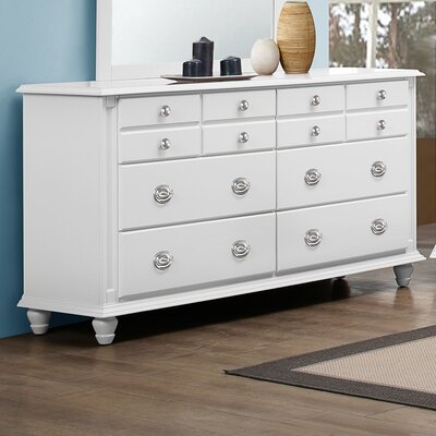 Daley 6 Drawer Double Dresser Color: White