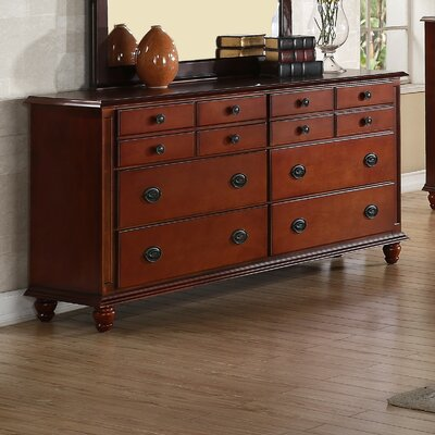 Daley 6 Drawer Double Dresser Color: Cherry