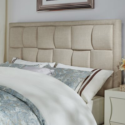 Gina Upholstered Panel Headboard Size: King, Color: Beige