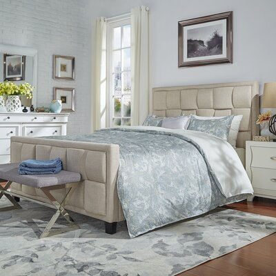 Gina Linen Upholstered Panel Bed Size: King, Color: Beige