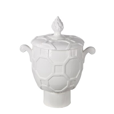 White Amphora Vase with Lid