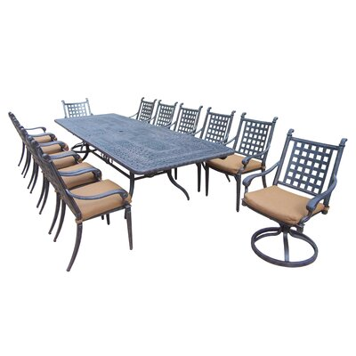 Image of Arness 16 Piece Metal Dining Set and Bistro Set
