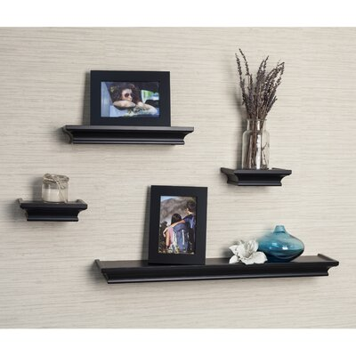 4 Piece Floating Shelf Set Finish: Black
