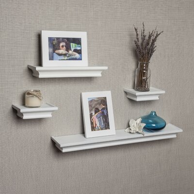4 Piece Floating Shelf Set Finish: White
