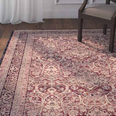 Marion Beige/Burgandy Area Rug Rug Size: Rectangle 67 x 9