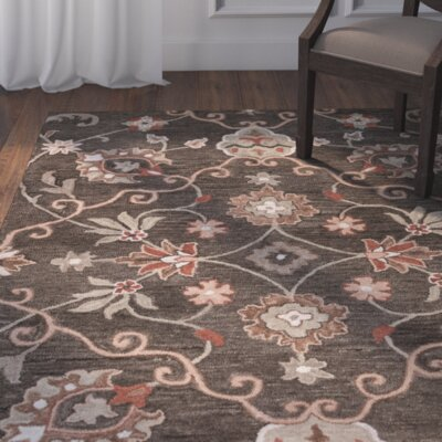 Venedy Hand-Tufted Brown Area Rug