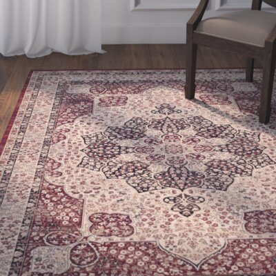 Marion Creme/Red Area Rug Rug Size: Rectangle 4 x 6