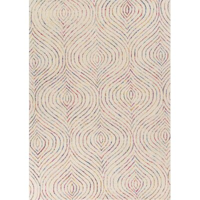Suanne Hand-Tufted Ivory/Purple Area Rug Rug Size: 33 x 53
